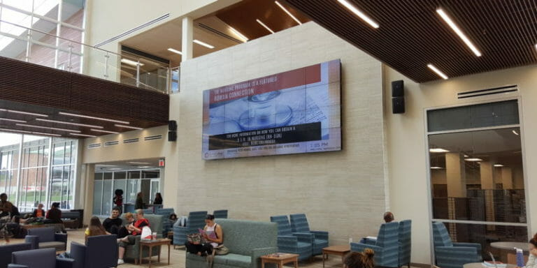 video wall installation at Rowan College