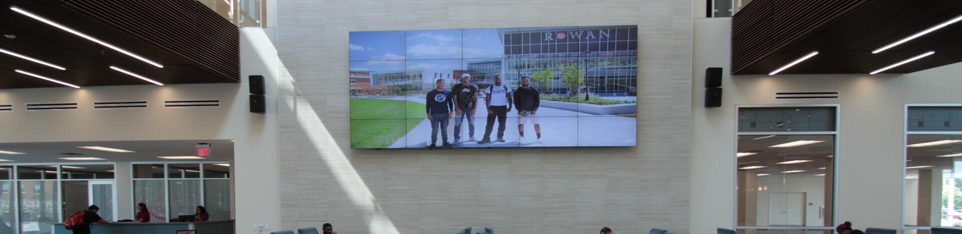 video wall in lobby